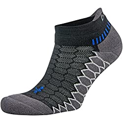 Balega Silver Antimicrobial No-Show Compression-Fit Running Socks for Men and Women, Black/Carbon, Large, 1-Pair