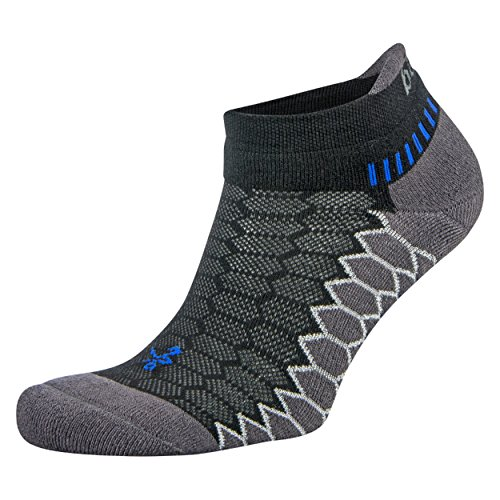 Balega Silver Antimicrobial No-Show Compression-Fit Running Socks for Men and Women (1-Pair), Black/Carbon, Large