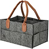 Diaper Organizer Caddy by Flying Turtle- Changeable Compartments with Fashionable Leather Handle,13 7 9 inch. Perfect for Home Nursery and Car, 100% Eco-friendly and Washable by Machine (Medium Grey)
