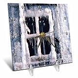 3dRose TDSwhite – Winter Seasonal Nature Photos - Snowed In Window - 6x6 Desk Clock (dc_284914_1)