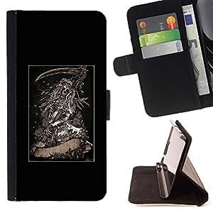 BullDog Case - FOR/Samsung Galaxy S4 IV I9500 / - / GRIM REAPER SCYTHE BLACK POSTER /- Monedero de cuero de la PU Llevar cubierta de la caja con el ID Credit Card Slots Flip funda de cuer