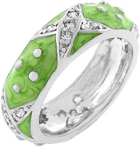 Marbled Apple Green Enamel Ring