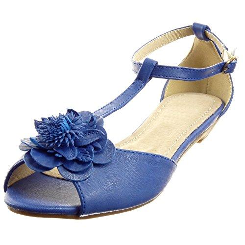 Sopily - Zapatillas de Moda Sandalias correa Tobillo mujer flores Talón Tacón ancho 1.5 CM - Azul