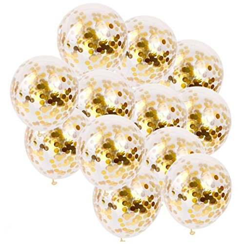 Yeefant 20 PCS Magic Sequins Foil Latex Confetti Balloon Set Birthday Party Gold Decorative Event Banquet Favors Signs Pure Bunting Hanging Set for Living Room Bedroom,12 Inch, Gold