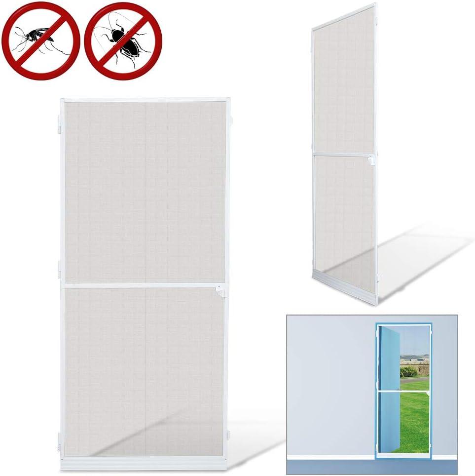 Mosquiteras para Mosquiteras puertas Mosquitera Pantalla Pantalla de Insecto protección insectos malla ventana blanco Aluminio (95x210CM)