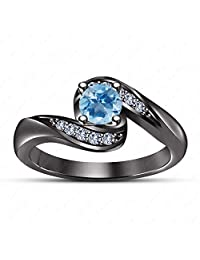 Gemstar Jewellery Lovers 925 Silver Aquamarine Couple Ring Her Promise Engagement Ring in Black Gold Fn