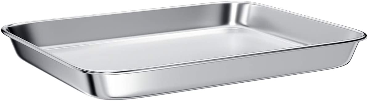 Toaster Oven Tray Pans,Small Baking Sheet Stainless Steel Toaster Oven Baking Pan and Cookie Sheet,Rectangle Size 10.4 x 8 x 1 inch,Mirror Finish & Anti-Rust,Thick & Sturdy
