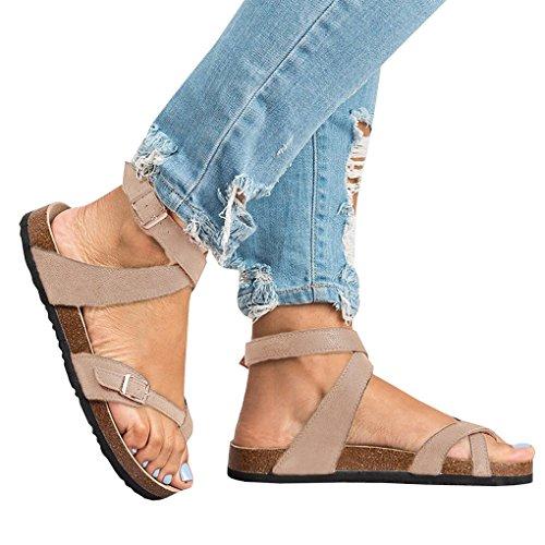 Estiva Toe Fibbia Eleganti Piatte Shoes Casual Moda Sandali Scarpe Spiaggia retr da Bassi Peep Donna Boemia Minetom Estate 0Xvqx