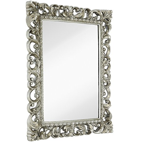- Hamilton Hills Antique Silver Ornate Baroque Frame Mirror | Elegant Old World Feel Beveled Plate Glass Mirrored Design | Hangs Horizontal or Vertical (28.5