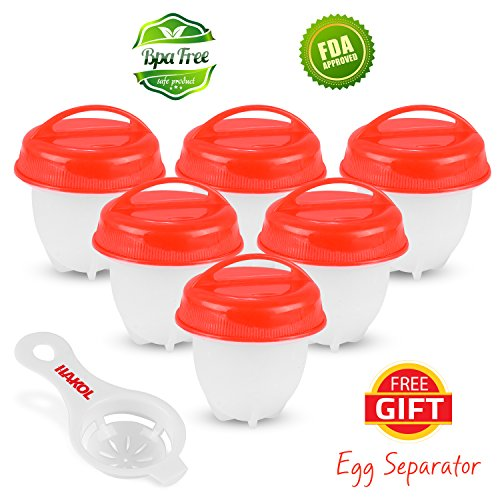 Egg Cooker - Pack of 6 BPA-Free Egg Cooking Cups for Soft & Hard Boiled Eggs Without the Shell – As Seen On TV Nonstick Silicone Poached Egg Cups with Lids for Boiling, Steaming & Poaching