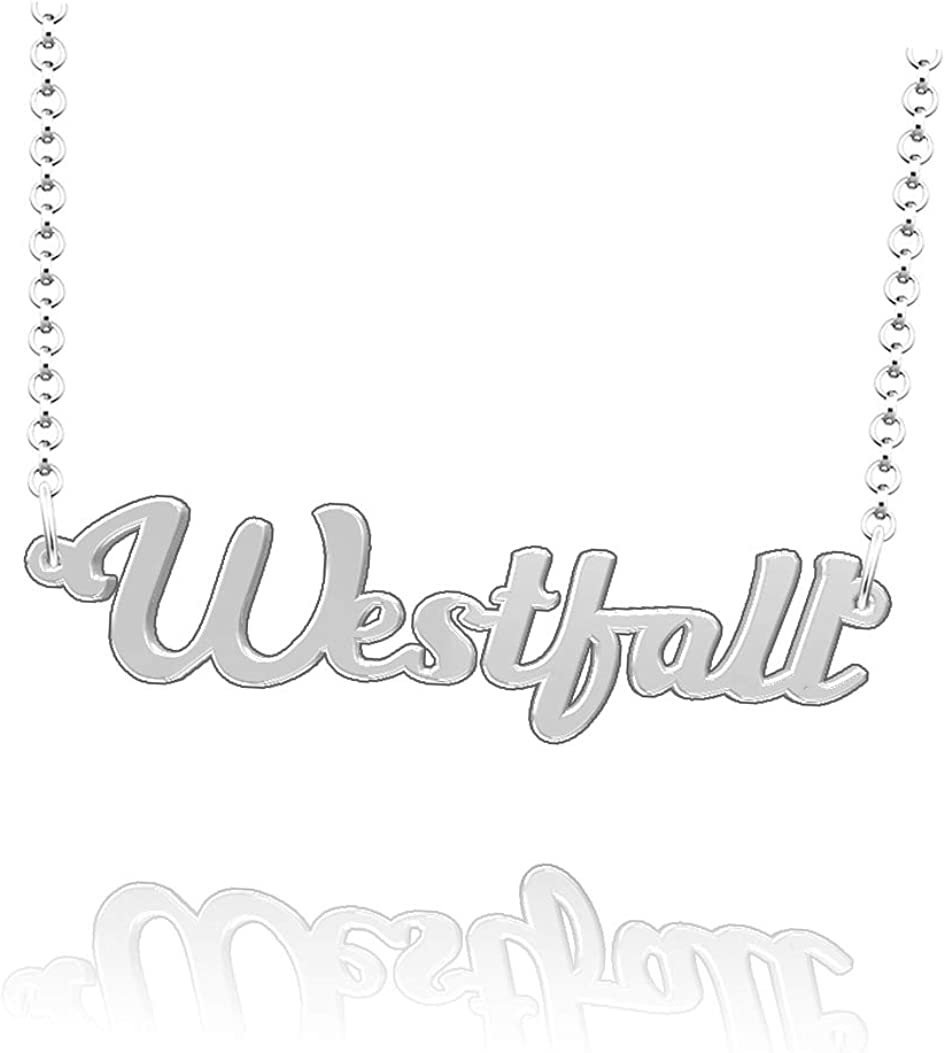 LoEnMe Jewelry Personalized Westfall Name Necklace Sterling Silver Plated Custom Made of Last Name Gift for Family
