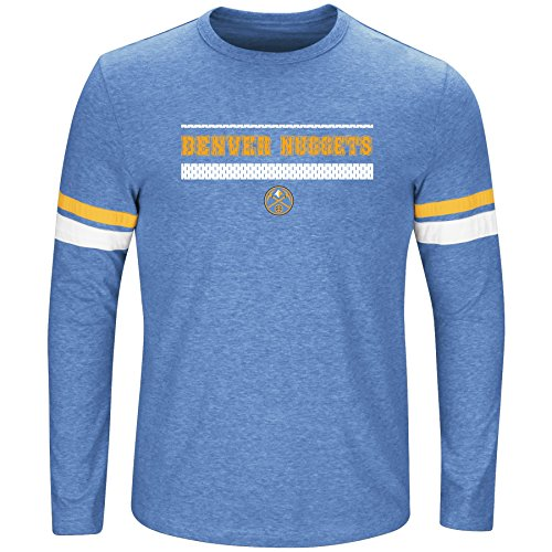 (NBA Denver Nuggets Long Sleeve Screen Print Tee, Coast Blue Heather/Gold, X-Large/Tall)