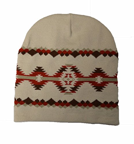 American crema Hat mano Rust a Native Beanie Indian Pattern Hecho tAf4xB