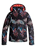 Roxy Big Girls' Jetty Snow Jacket, True Black_Neon Palms, 12/Large