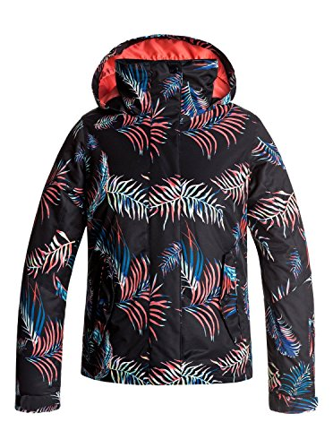 Roxy Big Girls' Jetty Snow Jacket, True Black_Neon Palms, 14/X-Large by Roxy