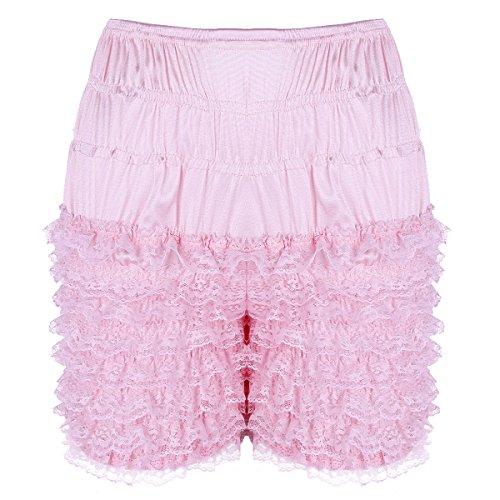 ranrann Women's Tiered Ruffle Lace Frilly Panties Bloomers Lolita Dance Sissy Steampunk Booty Shorts Pink Medium (Waist 27.5
