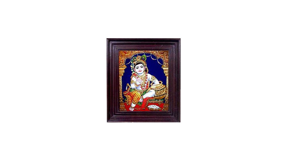Tanjore Paintings - Makkan-chor Krishna