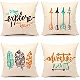 """Inspirational Quote Throw Pillow Case Cushion Cover Decorative Cotton Linen 18"""" x 18"""" Set of 4(Adventure Awaits,Dream Explore Discover, Ethnic Arrows, Feathers)"""