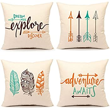 "Inspirational Quote Throw Pillow Case Cushion Cover Decorative Cotton Linen 18"" x 18"" Set of 4(Adventure Awaits,Dream Explore Discover, Ethnic Arrows, Feathers)"
