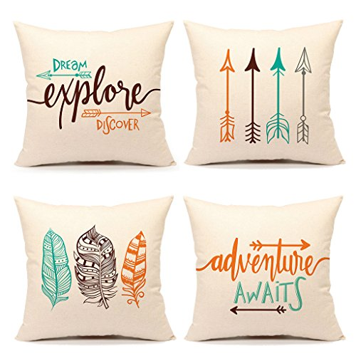 Inspirational Quote Throw Pillow Case Cushion Cover Decorative Cotton Linen 18″ x 18″ Set of 4(Adventure Awaits,Dream Explore Discover, Ethnic Arrows, Feathers)