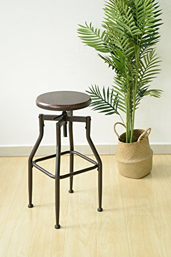 Metal Swivel Counter Stool (Industrial Style Adjustable Metal Swivel Counter Height Bar Stools with Legs Support in Black and Walnut Finish)