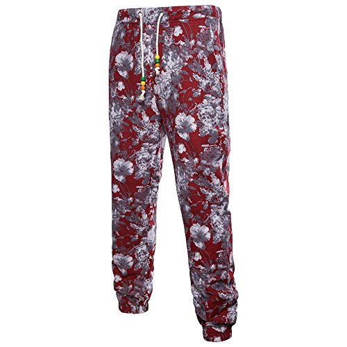 HYIRI Men's Trousers Harem Loose Fit Slacks Casual Jogger Sportwear Baggy Comfy Pants Red (Denin Jogger)
