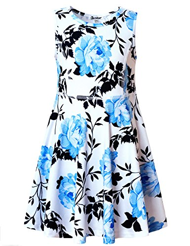 Jxstar Little Girls Dress Blue Flower Print Dress 130