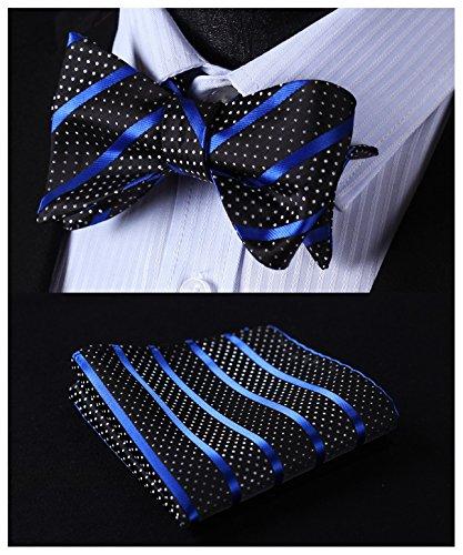 (HISDERN Men's Stripe Jacquard Woven Wedding Party Self Bow Tie Set Blue/Black)