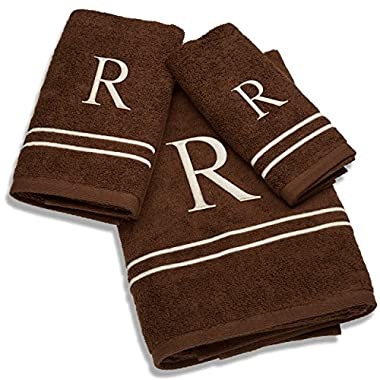 Avanti Monogram Block Letter Bath Towel Collection in Chocolate Brown