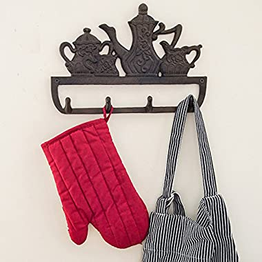 """Decorative Cast Iron Kitchen Storage Towel Rack 