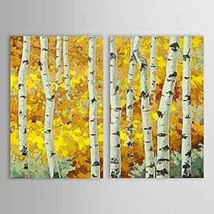 PI Mano óleo pintada Pintura Paisaje del bosque del abedul con extendía Frame Set de 2