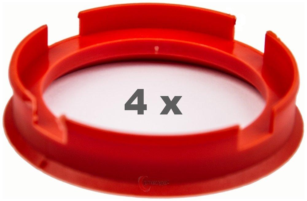 4 x Zentrierringe 72.6 mm auf 58.1 mm blutorange//vermillion