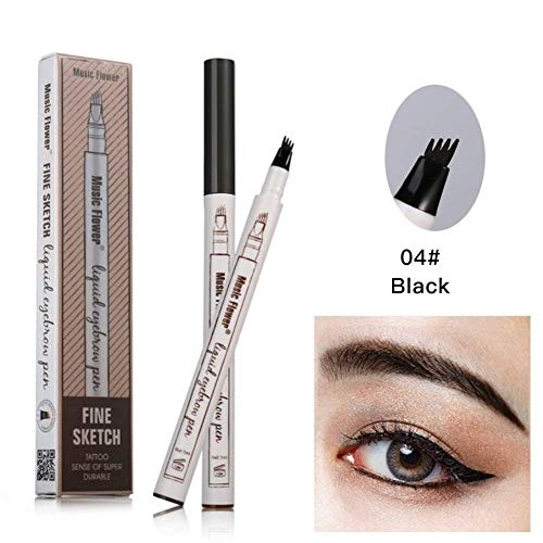 Waterproof Microblading Eyebrow Pen Eyebrow Tattoo Pen-Liquid Eyebrow Tint Pen with Fork Tip Eyebrow Pen Creates Natural 3D Eyebrows(4#Black)