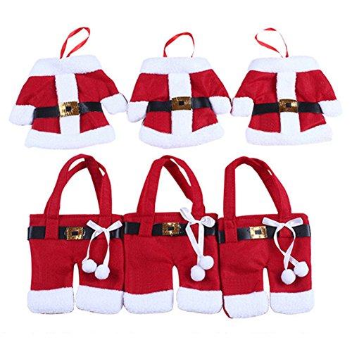 gutreise 6pcs/set Weihnachtsschmuck Happy Santa Anzug Weihnachten Besteckhalter Geschirr Bezüge Halter Dinner Party Tisch Dekoration