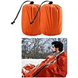 Zmoon Emergency Sleeping Bag 2 Pack Lightweight Survival Sleeping Bags Thermal Bivy Sack Portable Emergency Blanket Survival