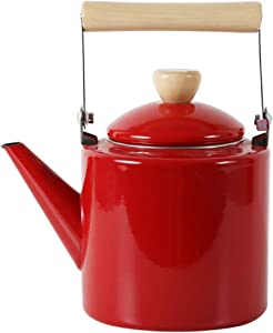 Pengrui Enamel Kettle Thicken Retro Stovetop Whistling Induction Cooker Natural Gas Household Commercial Restaurant teapot,Red
