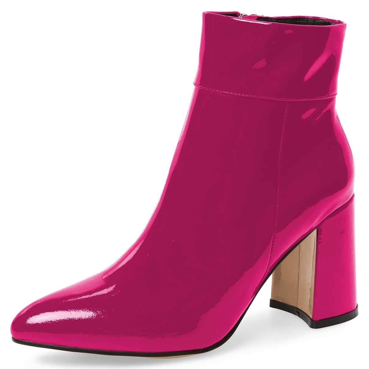 Fuchsia FSJ Women Pointed Toe Block High Heels Ankle Boots Glossy Patent Leather Party Dress Booties Size 4-15 US