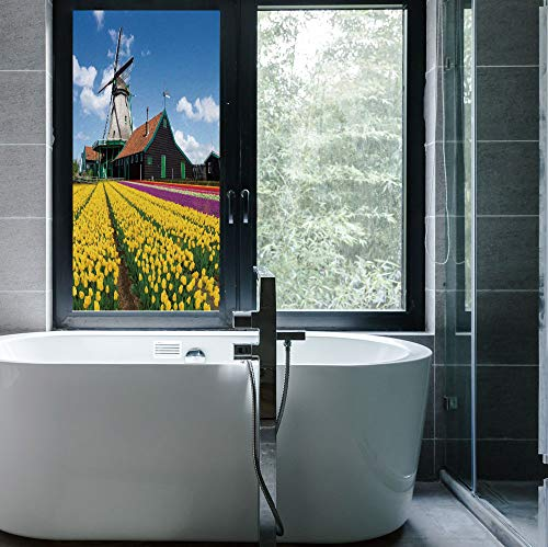 C COABALLA Stained Glass Window Film,Windmill Decor,for Bathroom Shower Door Heat Cotrol Anti UV,Rustic Dutch Landscape with Colorful Yellow Tulips European,24''x48''