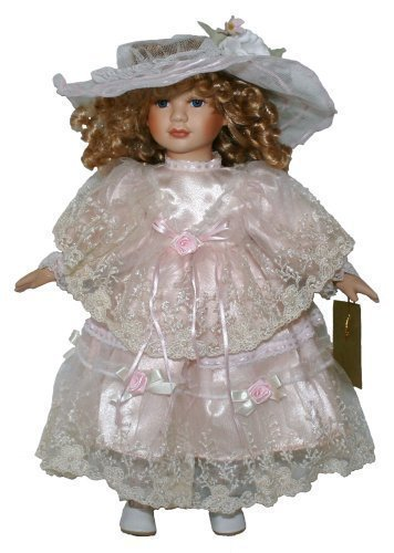 Porcelain Doll 18 Inches Standing Little Bo Peep with Pink Dress, Lace Overlay, and Mesh Hat by Joiner Co. (Porcelain Overlay)