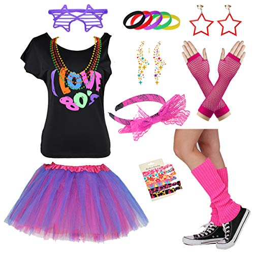 Child I Love The 80's Disco 1980s Costume Outfit Accessories Set (8-10 Years, ()