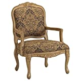 Chair Living Room Traditional Bella French Provincial Accent Chair in Beautiful Chocolate Paisley, Polyester-Rayon Blend Fabric. Hand-Carved Details Living Room Chair. Assembly Required