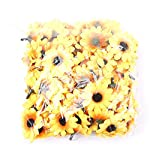 IETONE-100-Pieces-Artificial-Gerbera-Daisy-Flowers-Heads-for-DIY-Wreath-Gift-Box-Scrapbooking-Craft-Wedding-Party-Yellow-Sunflower