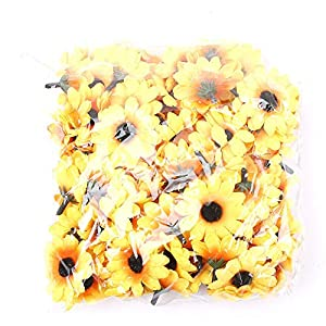 IETONE 100 Pieces Artificial Gerbera Daisy Flowers Heads for DIY Wreath Gift Box Scrapbooking Craft Wedding Party (Yellow Sunflower) 7