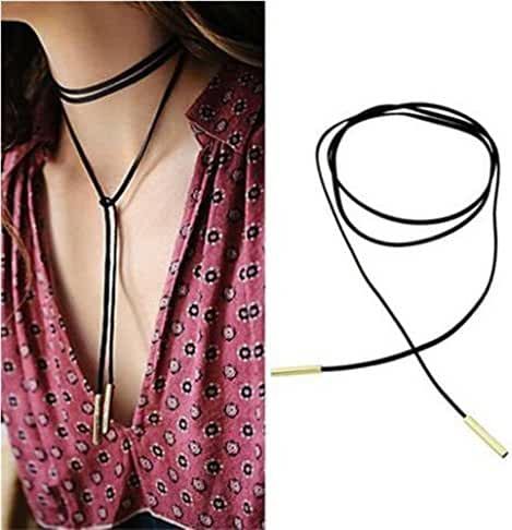 WaMLFac Alloy & Faux Leather Handmade Long Elastic Tassel Necklace, Black, 63-Inch