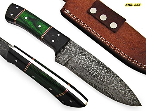 Poshland BC- 0430 Custom Handmade Damascus Steel Knife- Beautiful (Damascus Steel Fixed Blade)