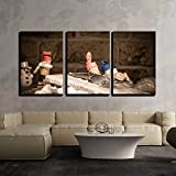 wall26 - 3 Piece Canvas Wall Art - Concept Funny Sledging with Wine Cork Figures - Modern Home Decor Stretched and Framed Ready to Hang - 16'x24'x3 Panels