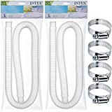 "Replacement Hose for Above Ground Pools [Set of 2] 1.25"" Diameter Accessory Pool Pump Replacement Hose with 4 Metal Clamps 59"" Long, for Intex Pump Models"
