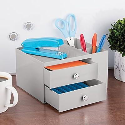 Gris claro Caja organizadora para material de oficina con 2 cajones y 2 compartimentos laterales mDesign Organizador de escritorio Pr/áctico organizador de material de escritorio