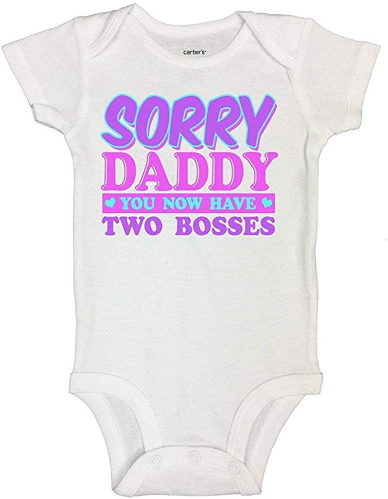 Cute Kids Shirts and Baby Bodysuits Daddy Has Two Bosses Now Royaltee Shirts 6-9 Months, White