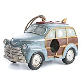 Factory Direct Craft Adorable Retro Look Painted Resin Station Wagon Birdhouse on Jute Hanger Displaying Gifting For Sale